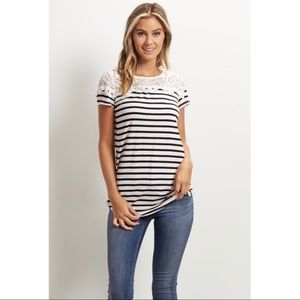 Tops - Boutique Stripe Shirt with Lace Details
